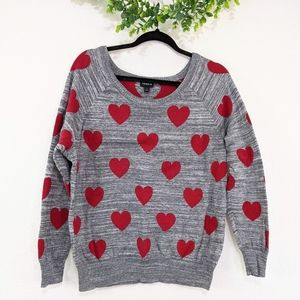 Torrid Red Heart Gray Intarsia Sweater 1X